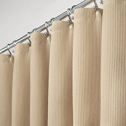 MDesign Extra Long Premium 100 Cotton Waffle Weave Fabric Shower Curtain Hotel Quality