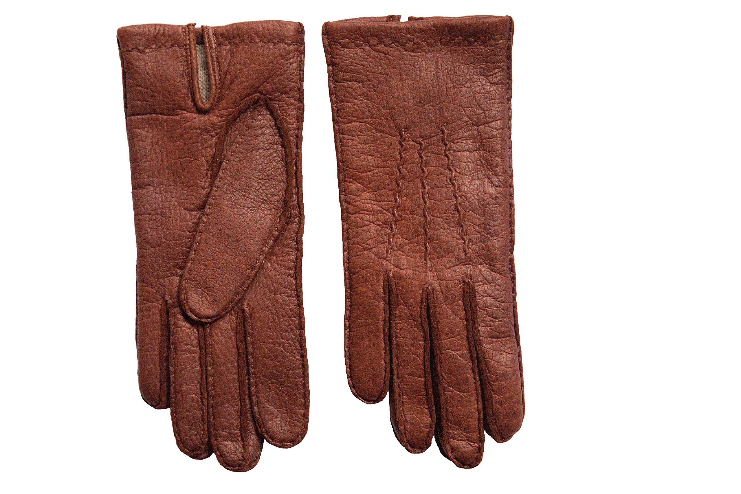 Men's Peccary Winter Gloves Cashmere Lined Hand Sewn Color English Tan by Hungant (7.5, English Tan)