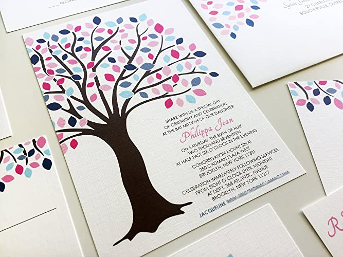 Amazon Com Tree Of Life Bat Mitzvah Invitation Blue And Pink