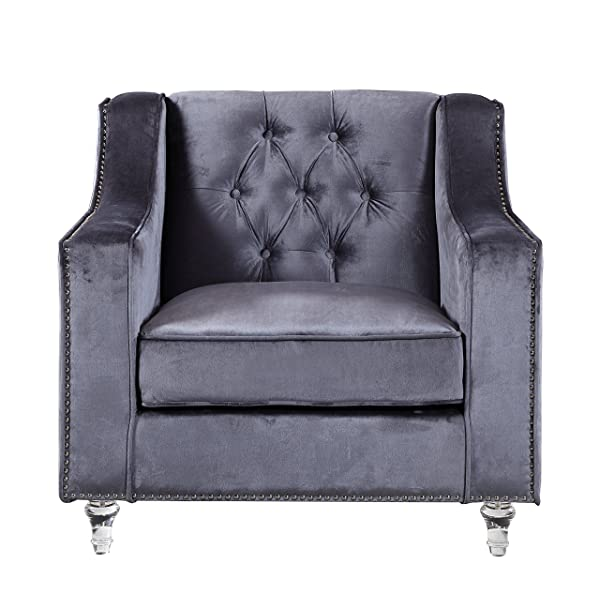 Iconic Home Dylan Modern Tufted Grey Velvet Club Chair with Silver Nail Head Trim & Round Acrylic Feet