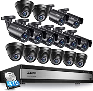 ZOSI 16CH 1080P Security Camera System Outdoor with 4TB Hard Drive 16Channel 1080P CCTV Recorder and 16pcs HD 1920TVL Outdoor Home Security Surveillance Cameras Night Vision Remote Access Motion Alert