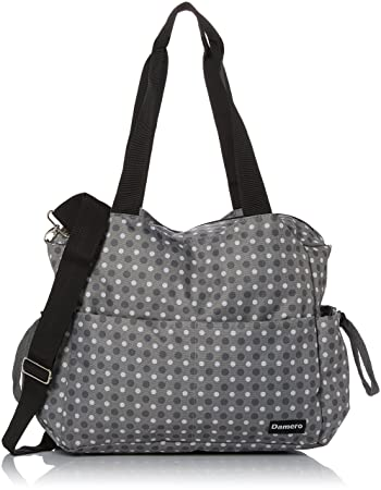 904c1bebc2 Amazon.com   Damero Large Diaper Tote Satchel Bag with Changing Pad and  Stroller Straps (Gray Dots)   Baby