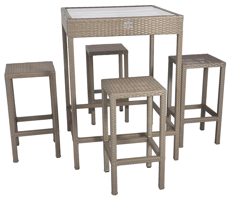 Rattan Bar Set Jazz Alu-Gestell graues Geflecht Tisch mit Holzplatte 4 Stühle