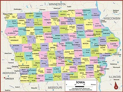 Amazon.com : Academia Maps - Iowa State Wall Map - Fully Laminated ...