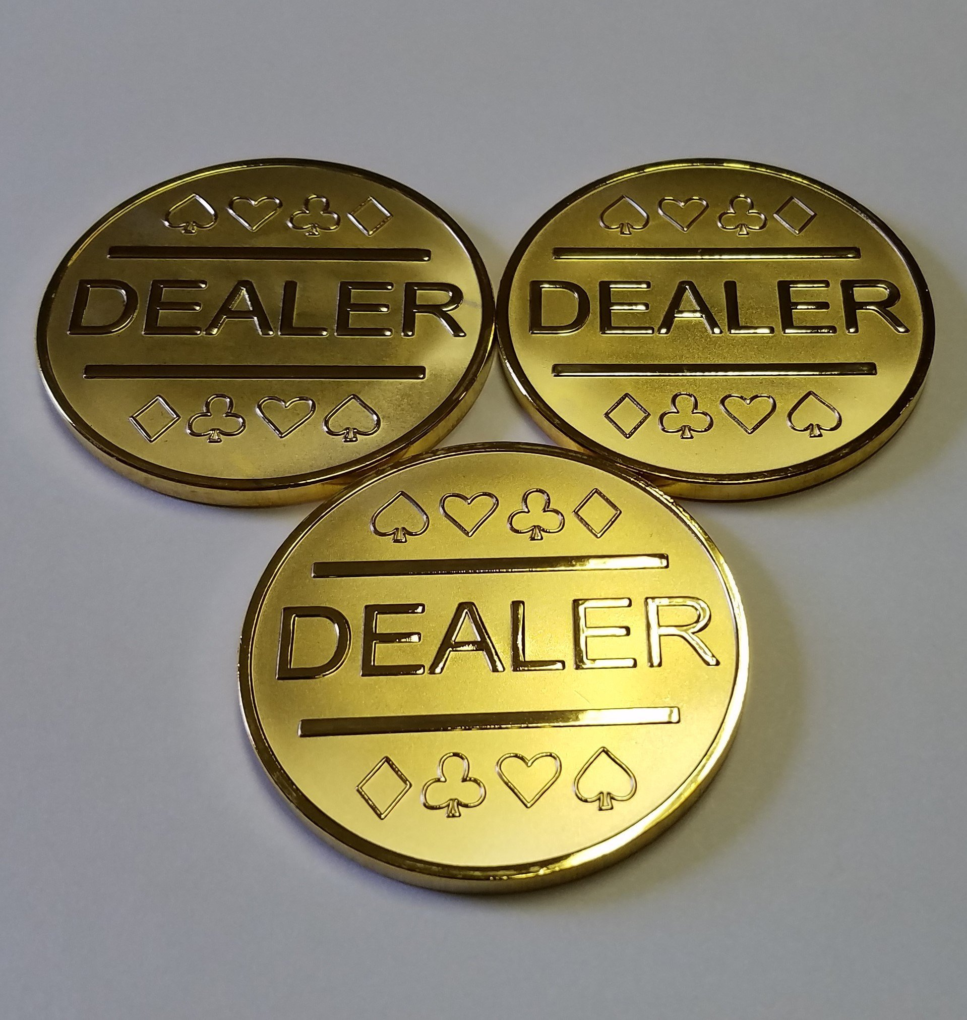3X Gold Plated Metal Dealer Buttons Poker Games Such as Texas Hold'em