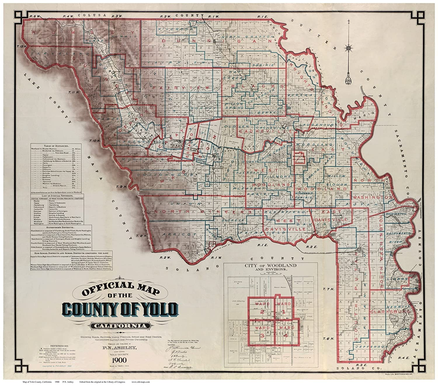 Amazon Com Yolo County California 1900 Wall Map With
