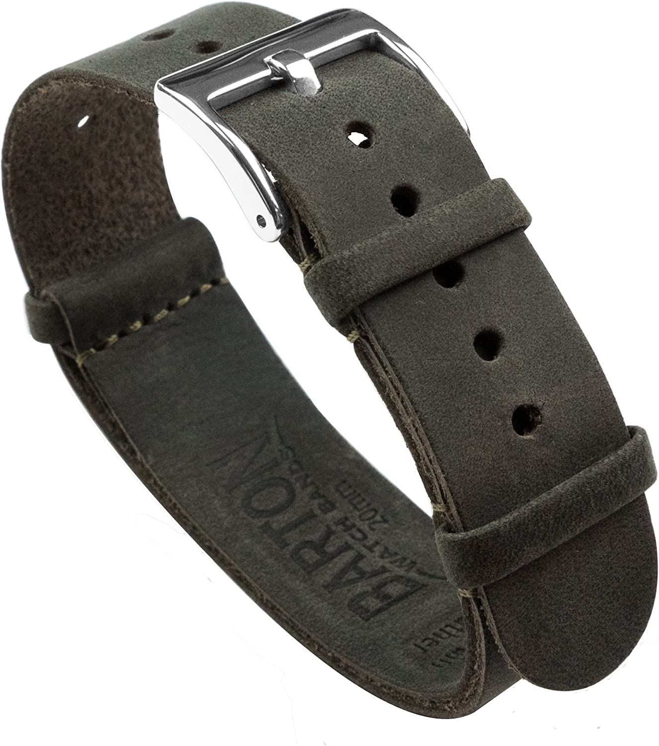 BARTON Leather Military Style Watch Straps - Choose Color, Length & Width - 18mm, 20mm, 22mm, 24mm Bands
