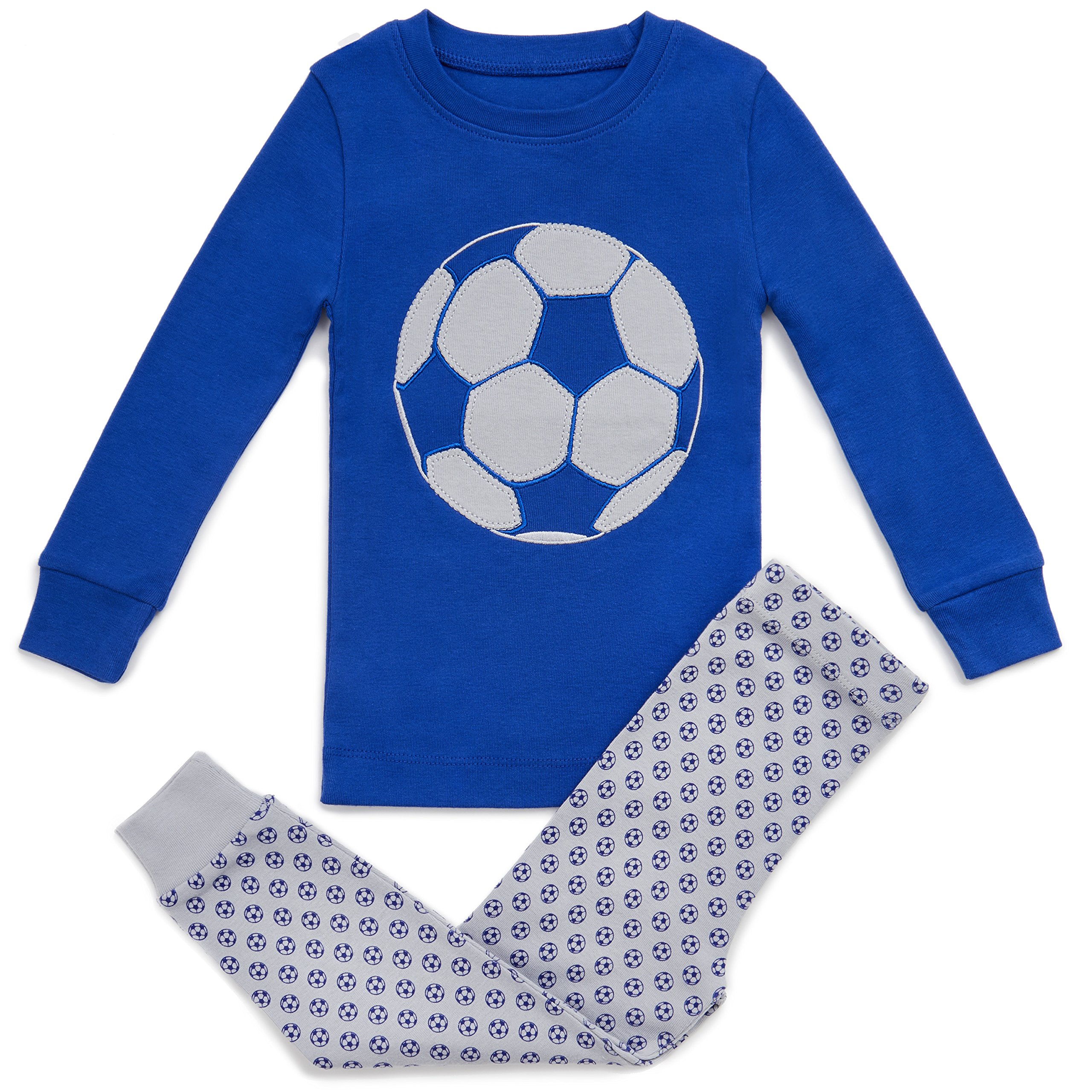 Bluenido Boys Soccer Ball 2 Piece Pajama 100% Super Soft Cotton Blue / Grey (6)