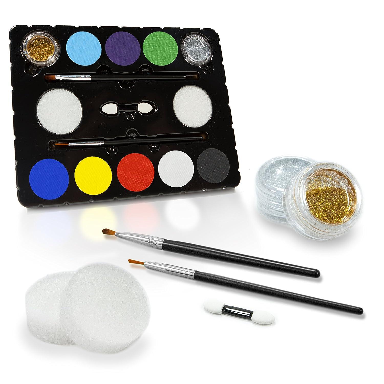Set de Pintura Facial y Corporal + 32 Plantillas (Edición Especial) Pinceles, Purpurina Brillante, Esponjas y Aplicadores Incluídos - 100% Seguro.