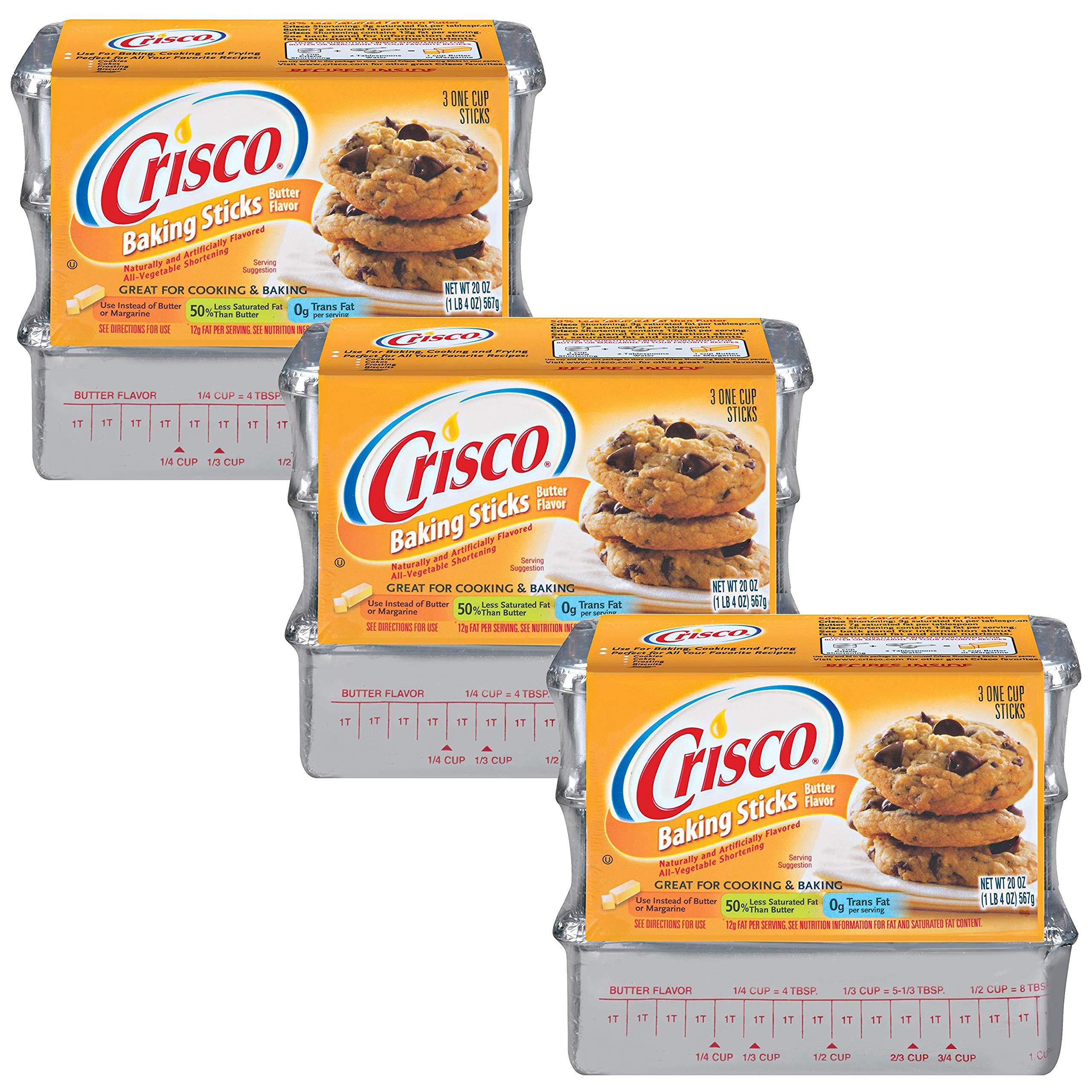 Butter Flavored Crisco Shortening Sticks(3 packages of 3 sticks each) by Crisco Butter Flavored Shortening Sticks