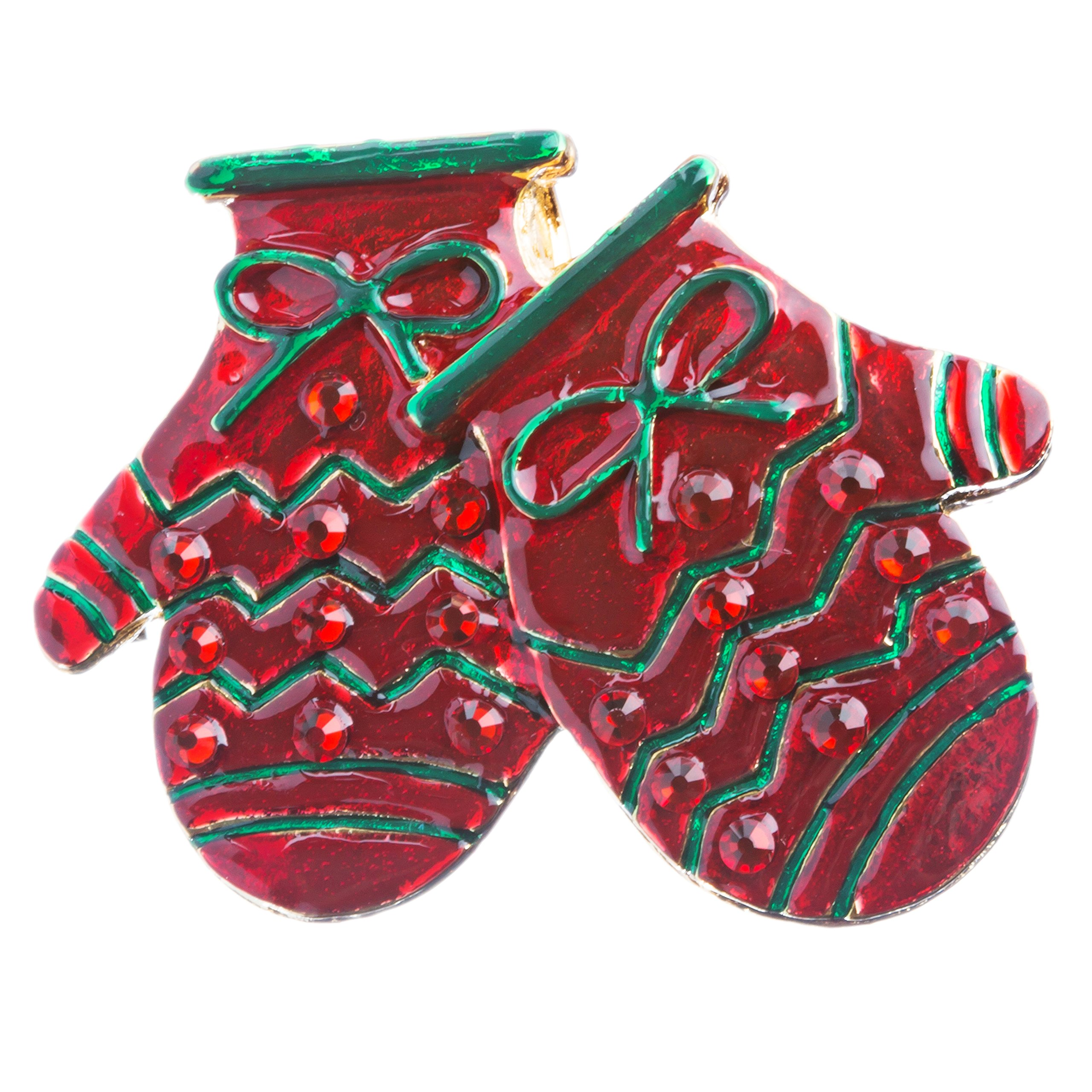 ACCESSORIESFOREVER Women Christmas Jewelry Crystal Rhinestone Holiday Winter Gloves Mittens Brooch BH128