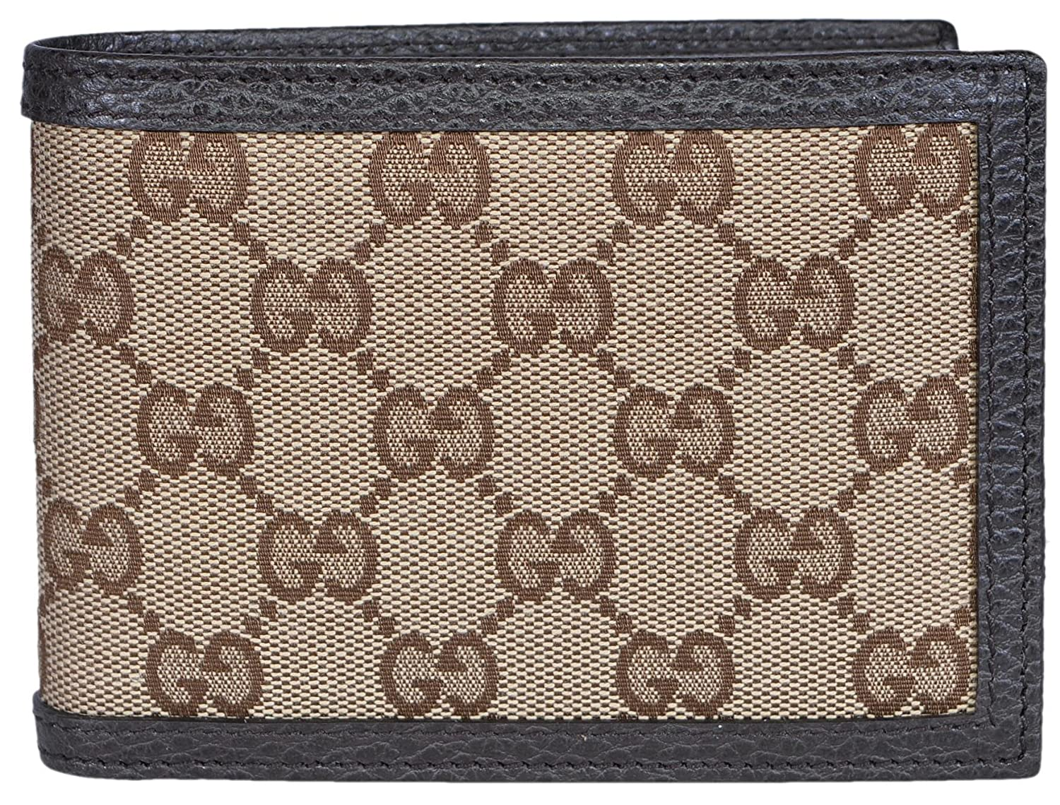 4176d76f6f55b6 Amazon.com: Gucci Men's Canvas Leather GG Guccissima Bifold Wallet (Beige/Brown):  Clothing