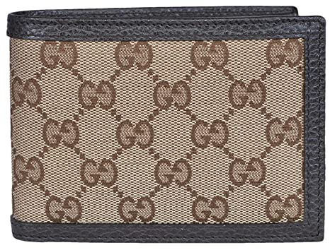 58668c89c487de Image Unavailable. Image not available for. Color: Gucci Men's Canvas Leather  GG Guccissima Bifold Wallet (Beige/Brown)