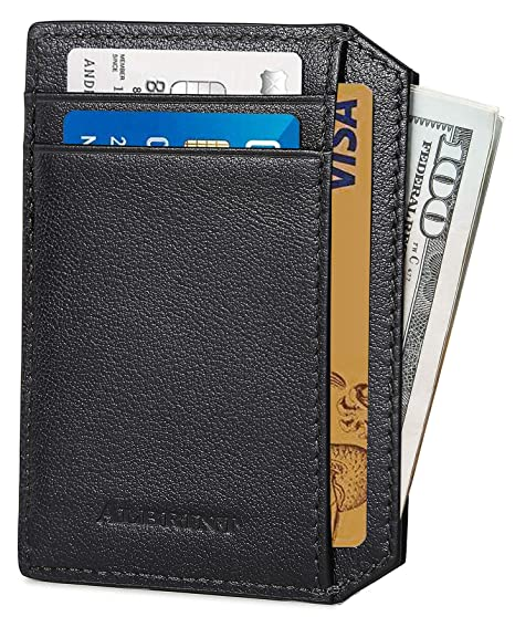 de0e68ae6a2 ALBRINT Rfid Minimalist Leather Wallets for Men and Women Front Pocket  Wallets Slim Card Holder (