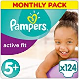 Pampers Premium Protection Active Fit Nappies, Monthly Saving Pack - Size 5+, 124 Nappies