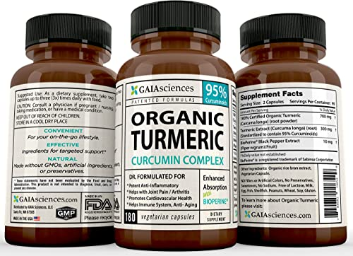 GAIA Sciences Turmeric Curcumin Bioperine 180ct 2100mg 95 Standardized Best Absorption Black Pepper Extract, Anti-Inflammatory, Joint Pain Relief, Immune System Liver Detox Booster, Organic Capsules