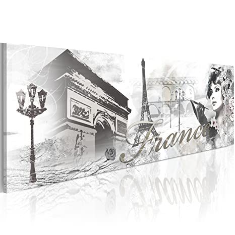 murando Impression sur Toile intissee Paris 120x40 cm Tableau 1 Partie Tableaux Decoration Murale Photo Image Artistique Photographie Graphique City Rue Ville d-B-0219-b-a