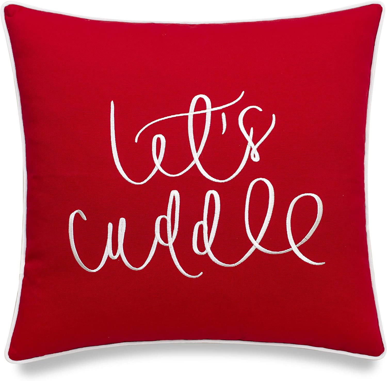 Vagmine Let S Cuddle Quote Embroidered Decorative Accent Square Throw Pillow Cover 18x18 Inches Red Home Kitchen