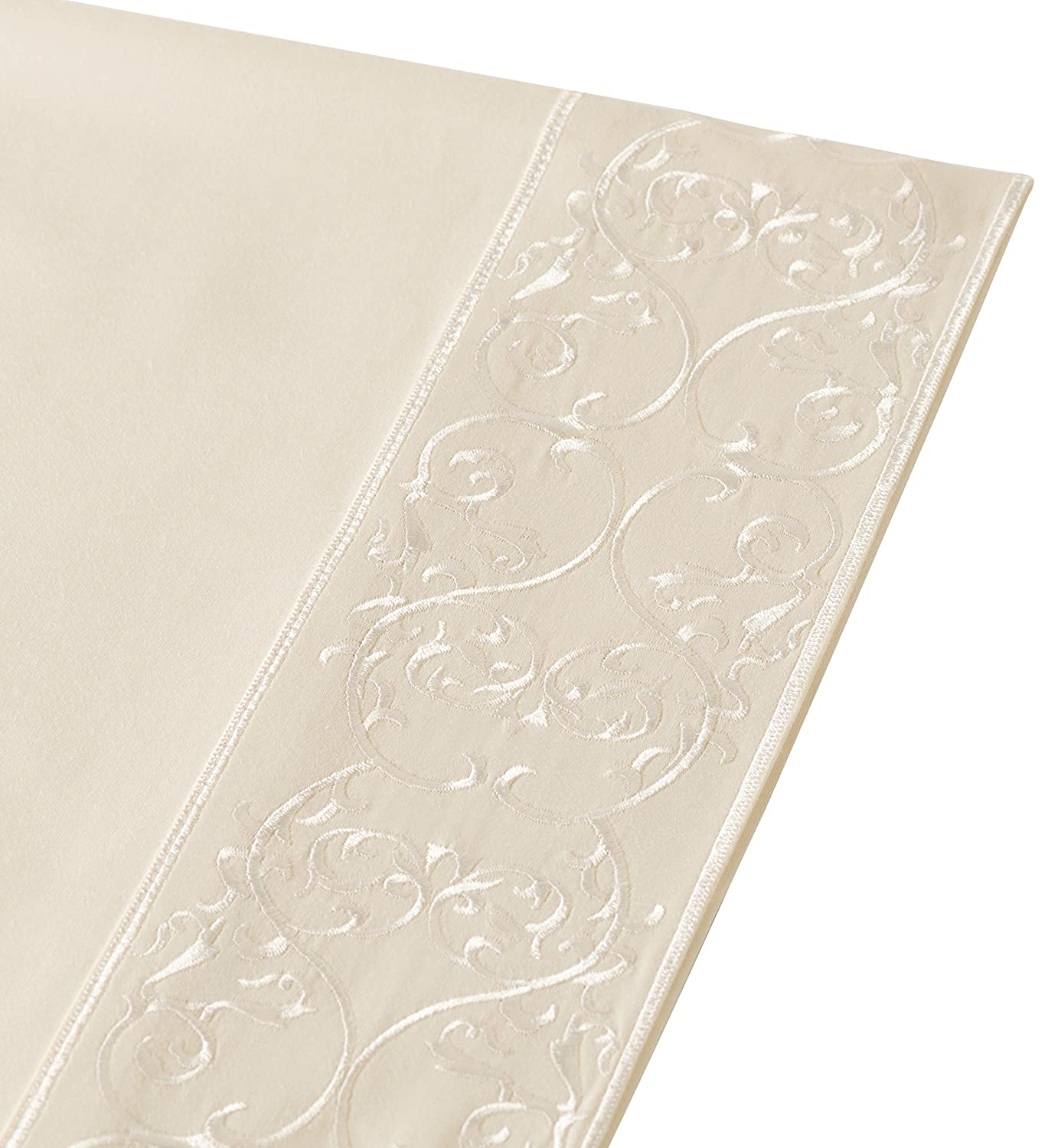 Belmont Square 400 Thread Count Andre Embroidered Cotton Sateen Sheet Set Ivory Twin