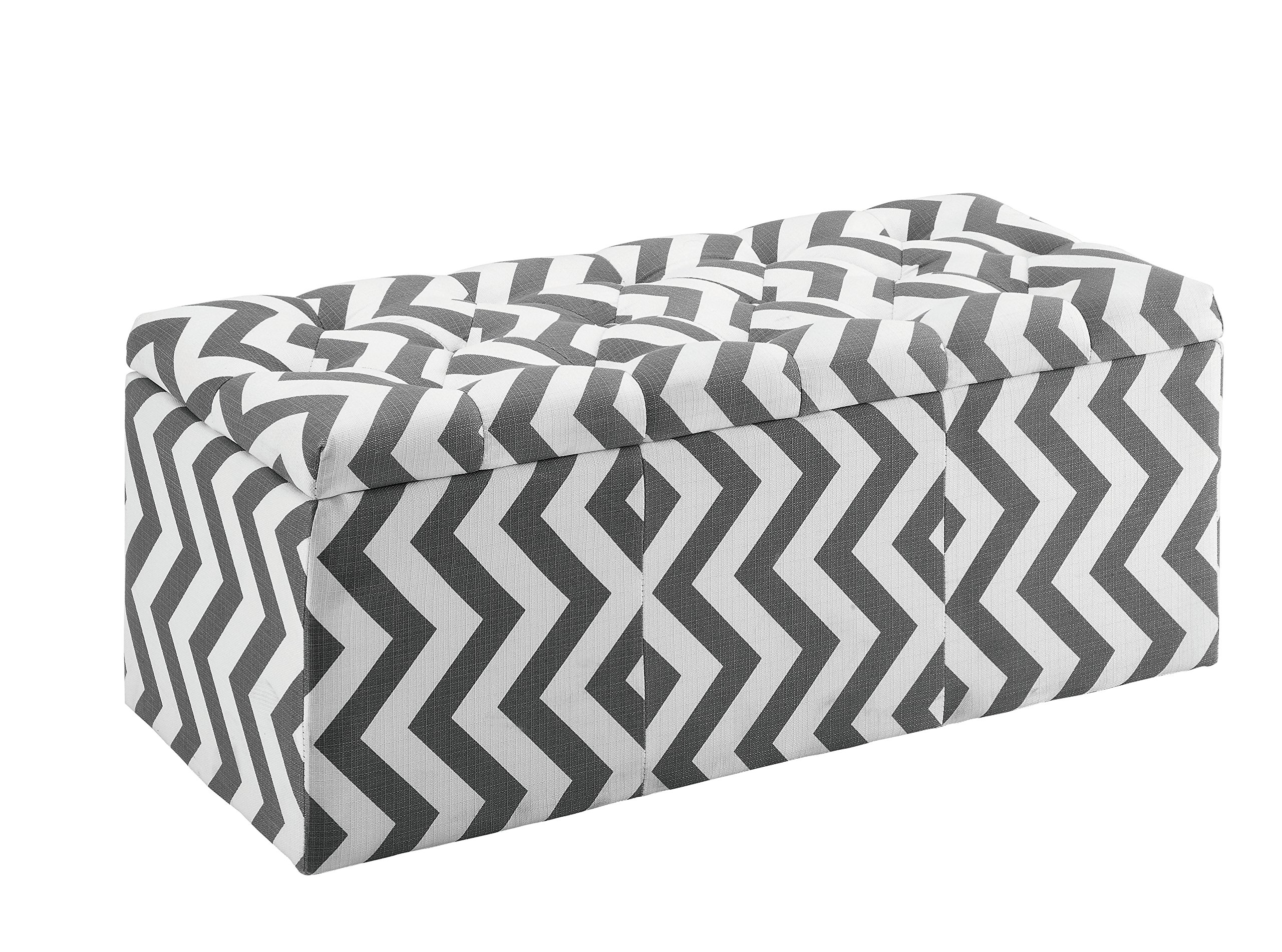 HOMES: Inside + Out IDF-BN6031GY Willy Chevron Storage Ottoman, Gray