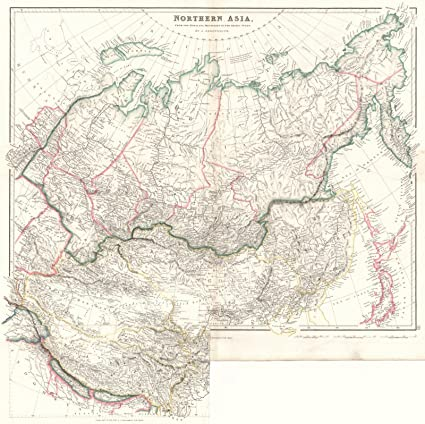 Amazon.com: Vintage Map | 1842 Northern Asia from the ...