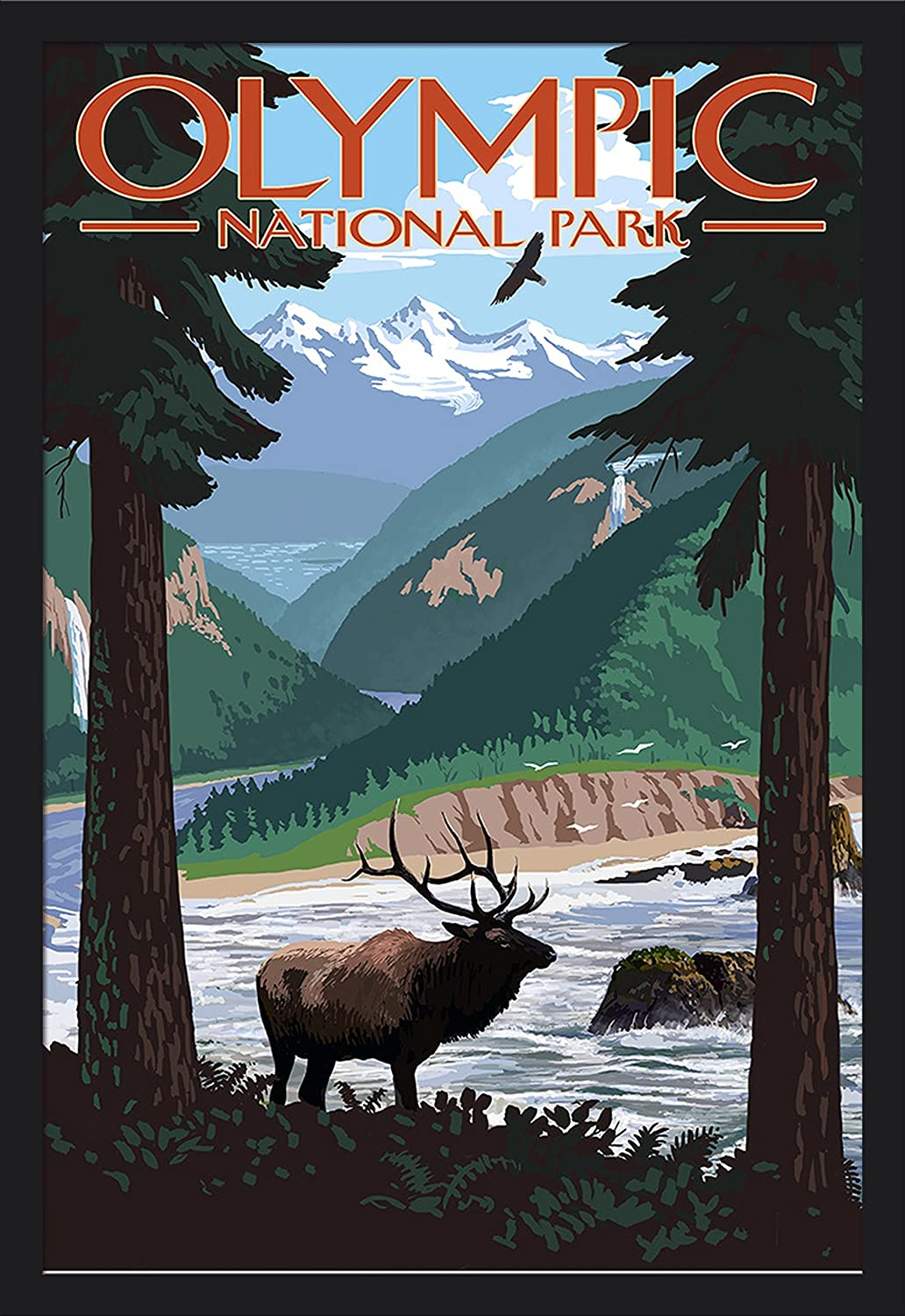 Moose Olympic National Park 16x24 Giclee Art Print, Gallery Framed, Black Wood Washington Grand Valley