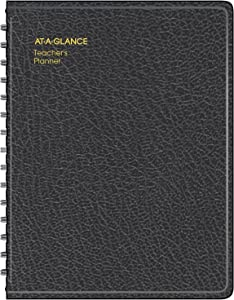 """AT-A-GLANCE Teacher Planner, 8-1/4"""" x 10-7/8"""", Undated Weekly & Daily Planner, Academic Lesson Plan Book for Family Homeschool Supplies, Agenda with Twin-Wire Binding, Black Leather (8015505)"""