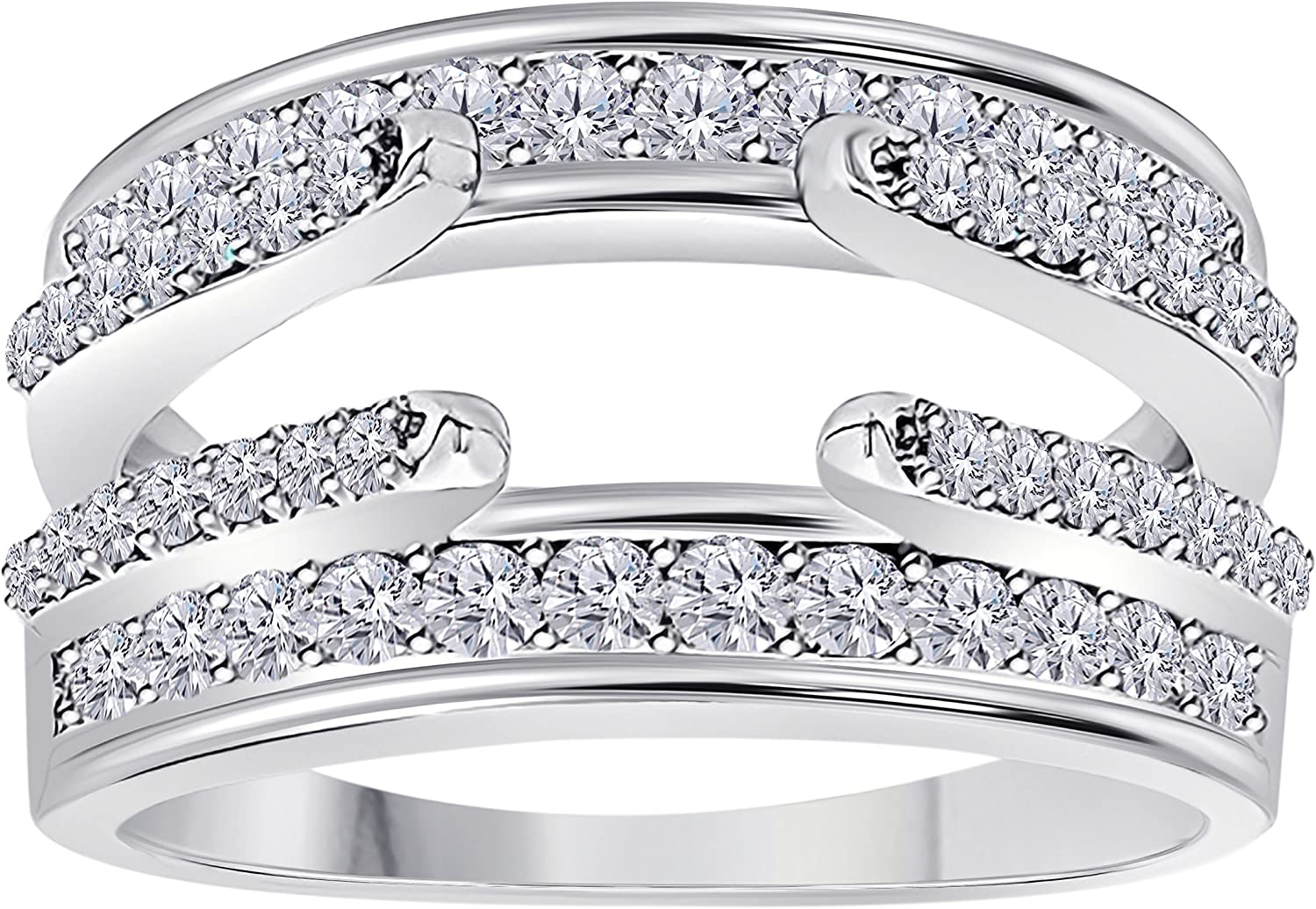 .925 Sterling Silver Plated Combination Curved Style Cathedral Wedding Ring Guard Enhancer with Cubic Zirconia 1.10 ct. tw.