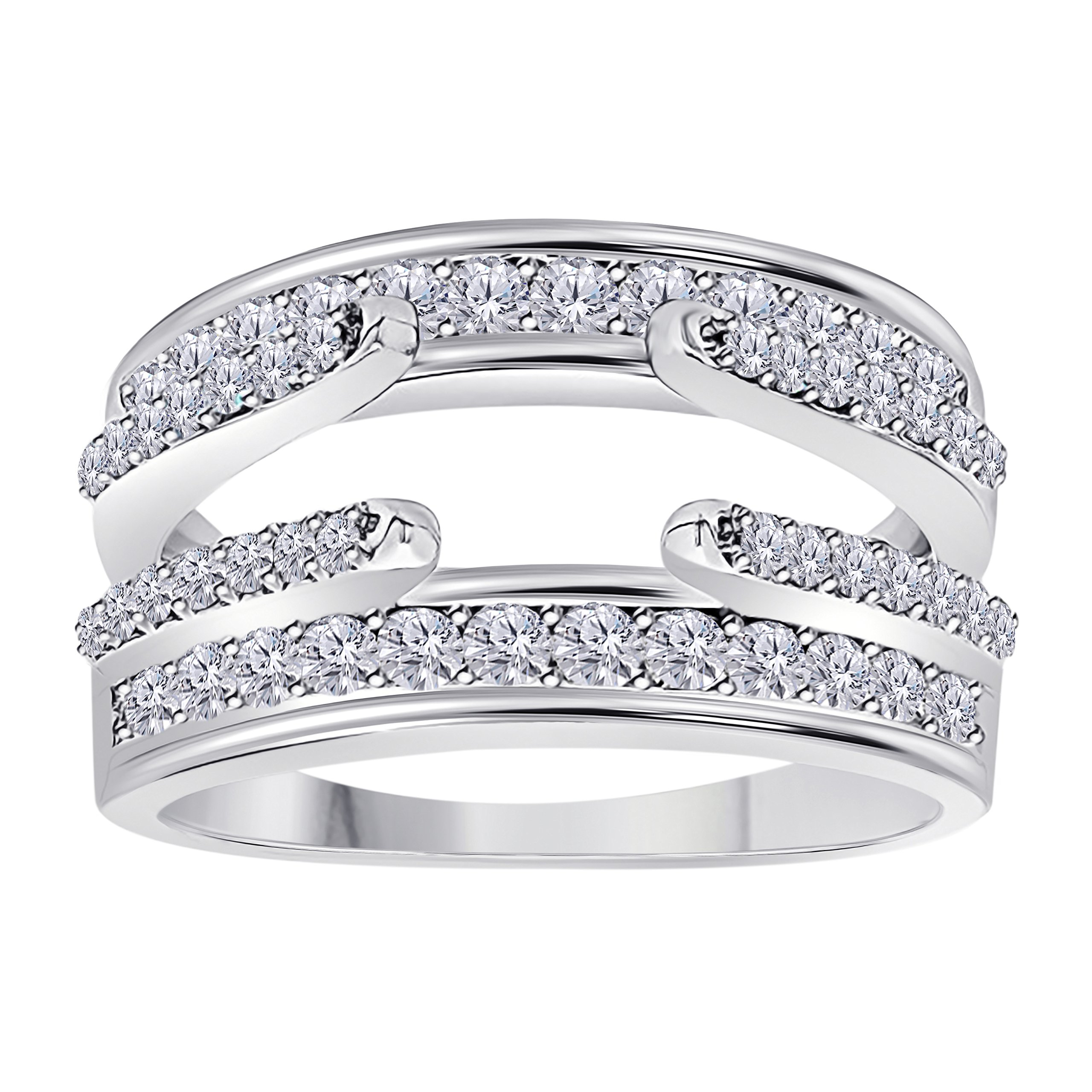 Sterling Silver Plated Combination Curved Style Cathedral Wedding Ring Guard Enhancer with Cubic Zirconia 1.00 Ct