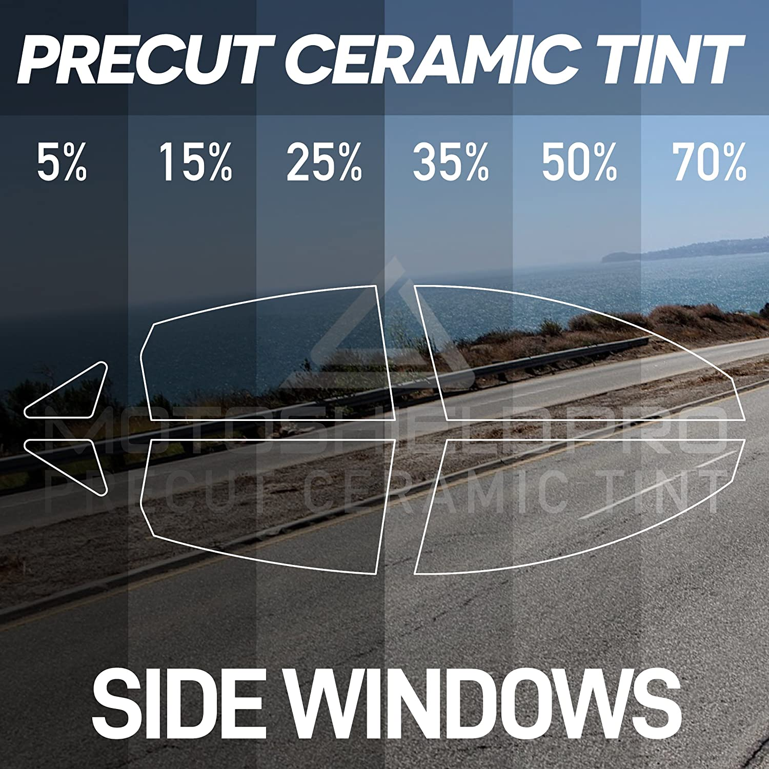 Side Windows Only Window Tint for Trucks Mini Van Any Tint Shade MotoShield Pro Precut Ceramic Tint Film SUVs Blocks Up to 99/% of UV//IRR Rays