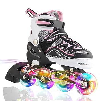 2pm Sports Ciro Patines en línea tamaño ajustable Ilumina LED ruedas para niño y niña - Rosa M: Amazon.es: Deportes y aire libre