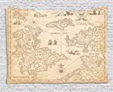 Ambesonne Island Map Decor Collection, Detailed