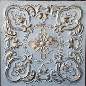 PLASTDECOR Ceiling Tile Faux tin Paint White Gold bar Decor Ceiling Panel PL30 Pack of 10pcs