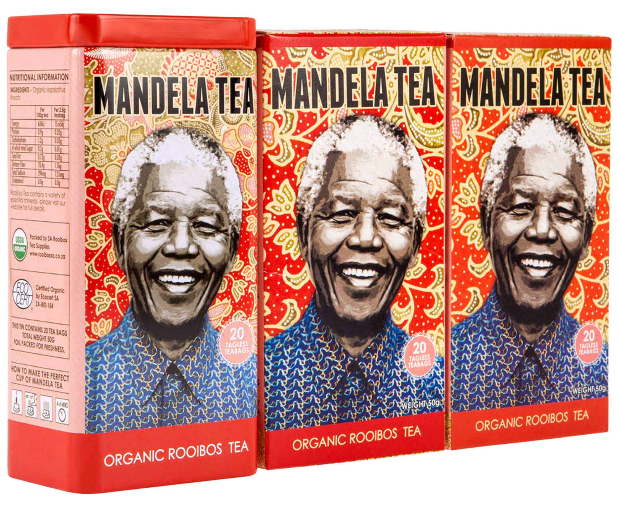 Mandela Tea - Organic Rooibos Tea (60 Tea Bags) | Delicious Organic Red Herbal Tea from South Africa | Includes Stay Fresh Gift Tin | Zero Calorie or Caffeine | Antioxidant Rich All Natural Tea Leaves by Mandela Tea