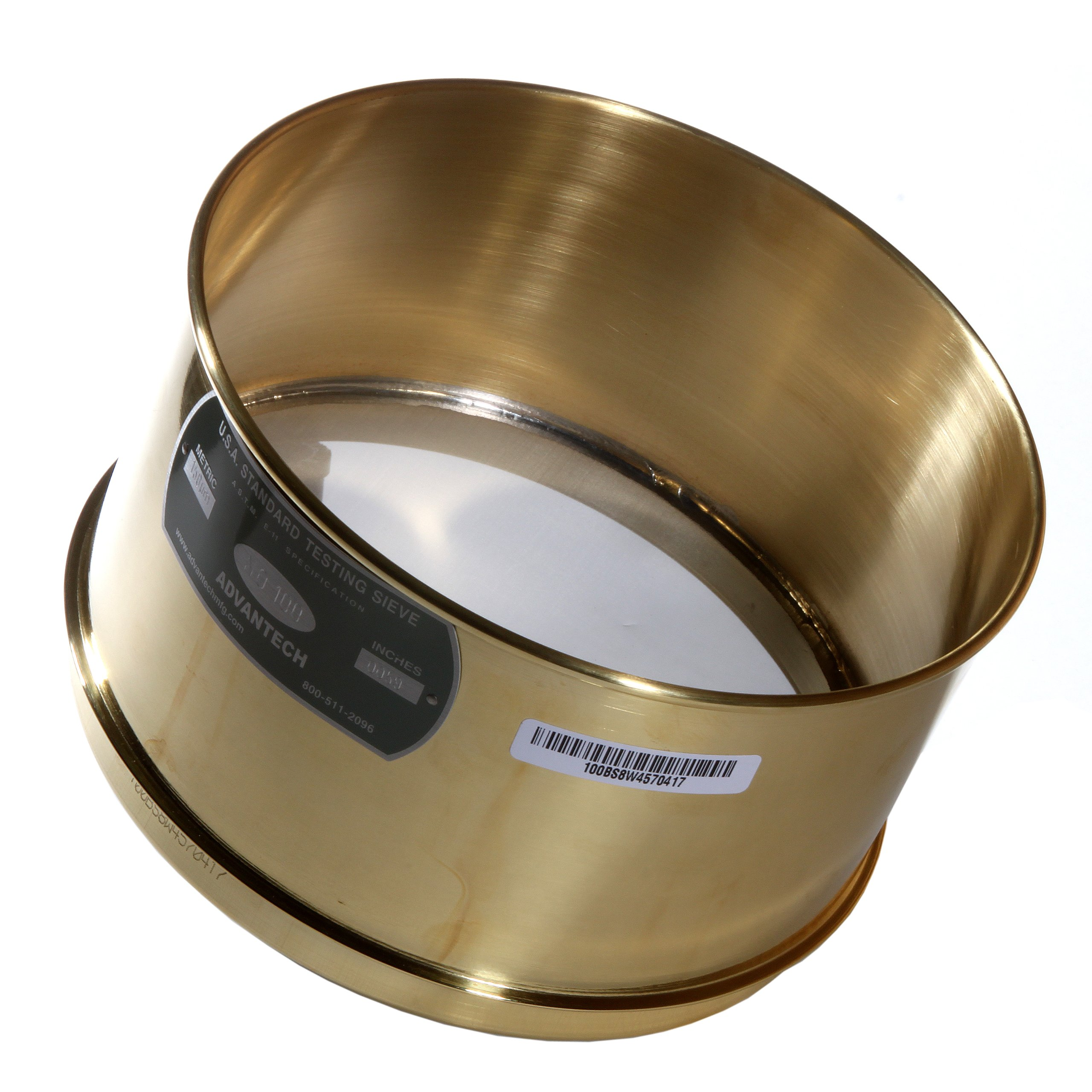 Advantech Brass Test Sieves with Stainless Steel Wire Cloth Mesh, 8'' Diameter, #100 Mesh, Full Height by Advantech