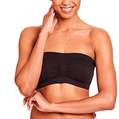 c5c5e8321b3 Nursing Bandeau Bra Strapless Breastfeeding Top with Removable Cups by La  Leche League - Black