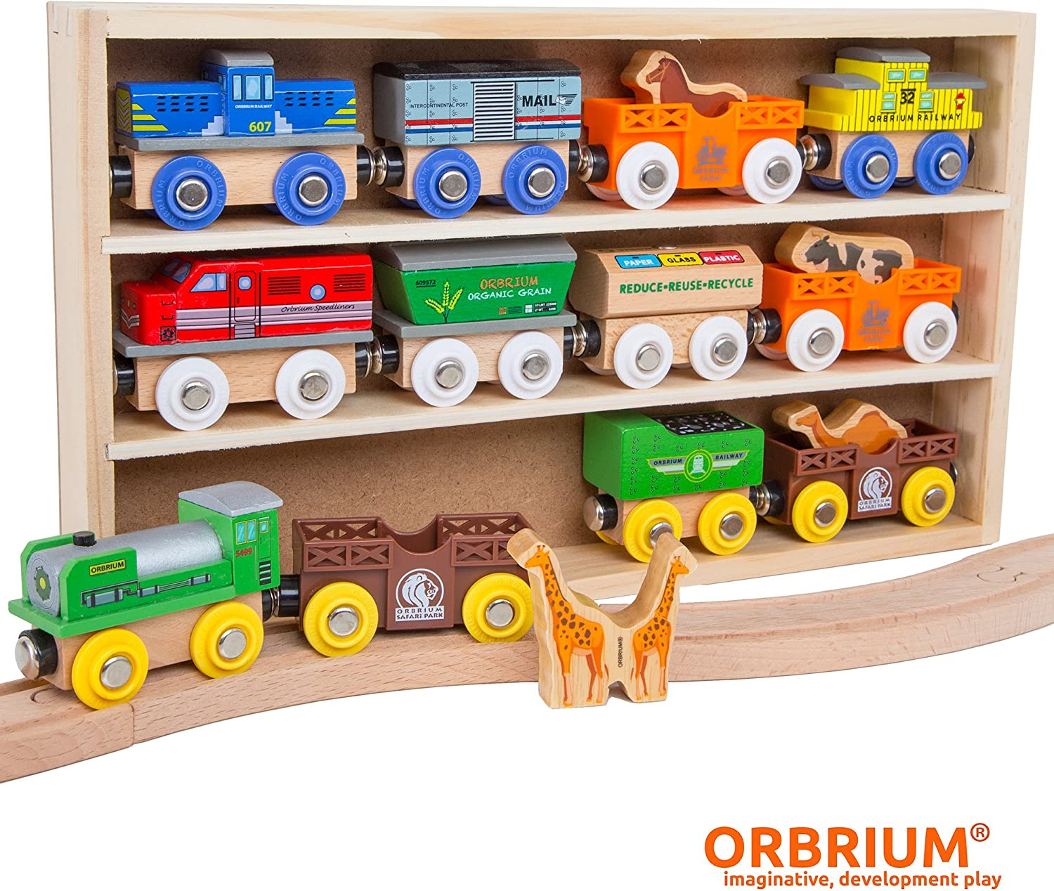 Pack of 4 Orbrium Toys Unpainted Wooden Train Cars Compatible with Thomas Brio Chuggington Great for Party