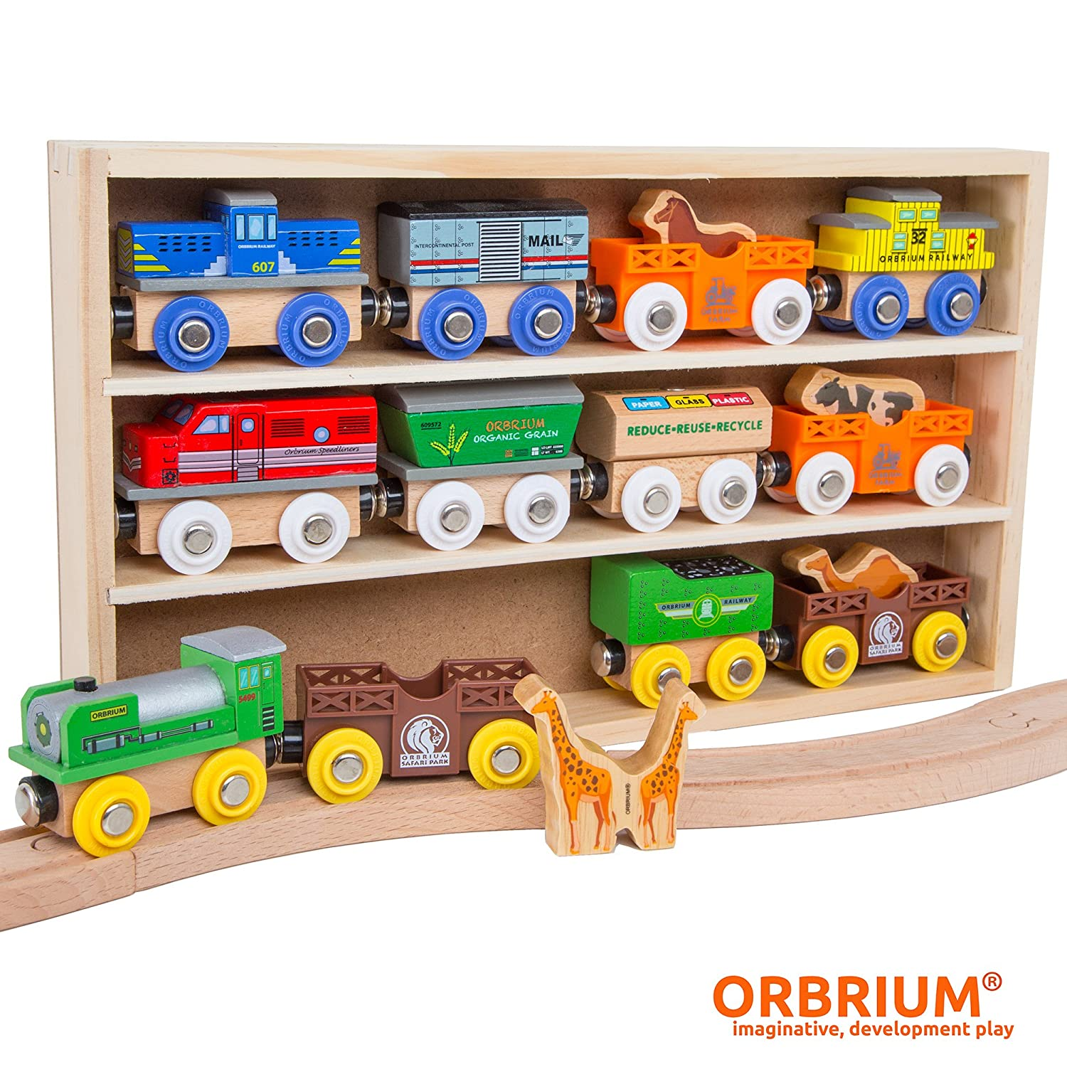Orbrium Toys 12 18 Pcs Wooden Engines Train Cars Collection with Animals Farm Safari Zoo Wooden Animal Train Cars Circus Wooden Train Compatible Thomas The Tank Engine Brio Chuggington