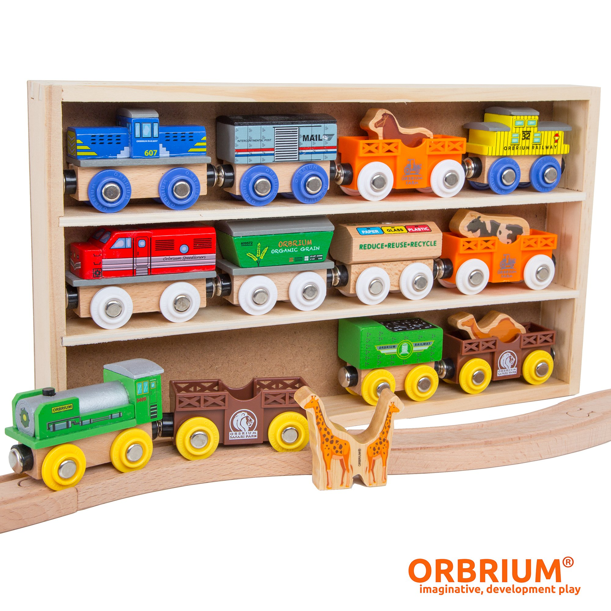Orbrium Toys 12 (18 Pcs) Wooden Engines & Train Cars Collection with Animals, Farm Safari Zoo Wooden Animal Train Cars, Circus Wooden Train Compatible Thomas The Tank Engine, Brio, Chuggington by Orbrium