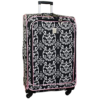 Jenni Chan Damask 360 Quattro 28 Inch Upright Spinner Luggage, Black/Pink, One Size