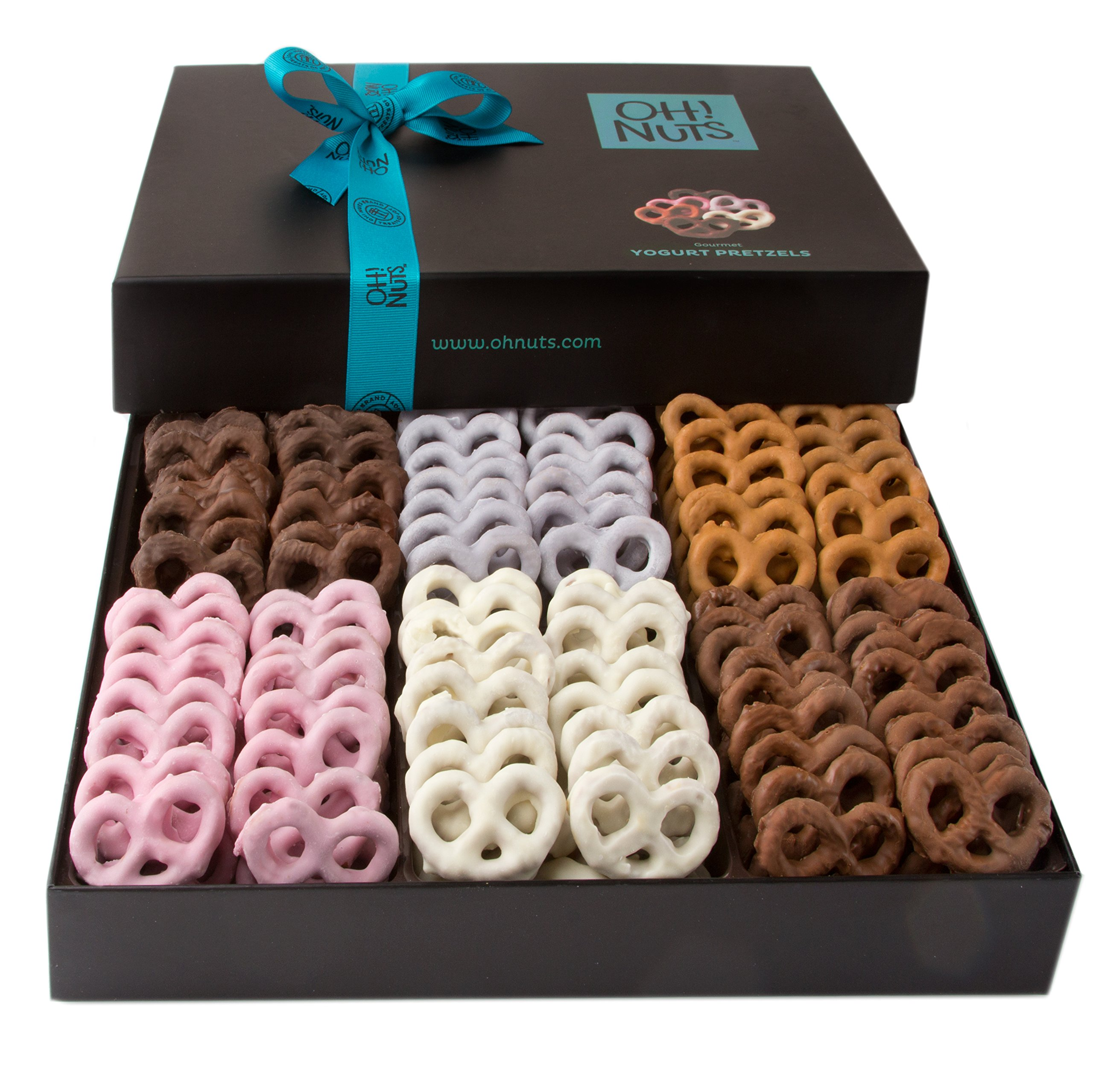 Oh! Nuts Chocolate Covered Pretzels Gift Basket, 6 Variety Assorted Flavored Set of Yogurt, Milk & Dark Gift Box, Send for Christmas Holiday Valentine's or Mother's Day a Sweet Treat for Men & Women by Oh! Nuts® (Image #1)