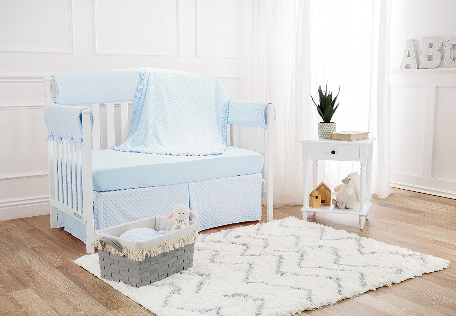 Blue TL Care Heavenly Soft Minky Dot Tailored Crib Skirt for Boys and Girls