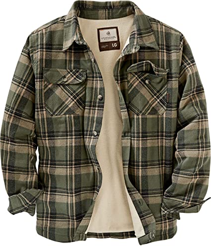 Mens Warm Heavy Duty Plaid Flannel Fleece Button Up Jacket Shirt Comfort Relaxed Fit
