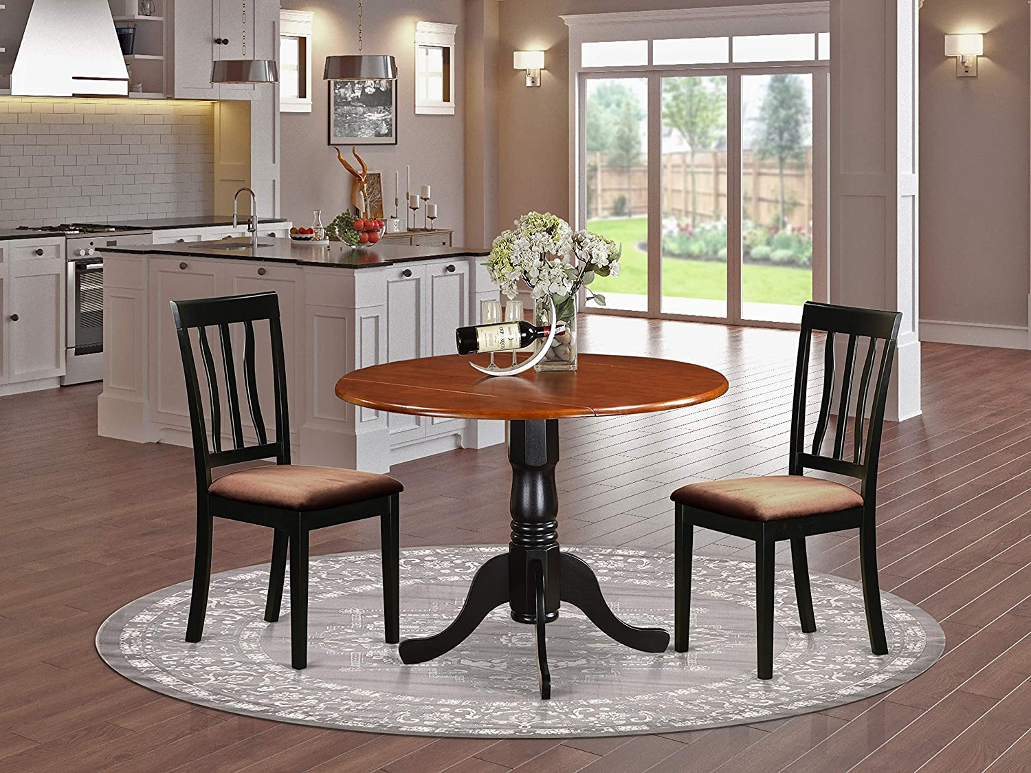 DLAN3-BCH-C Dining set – 3 Pcs with 2 Wood Chairs