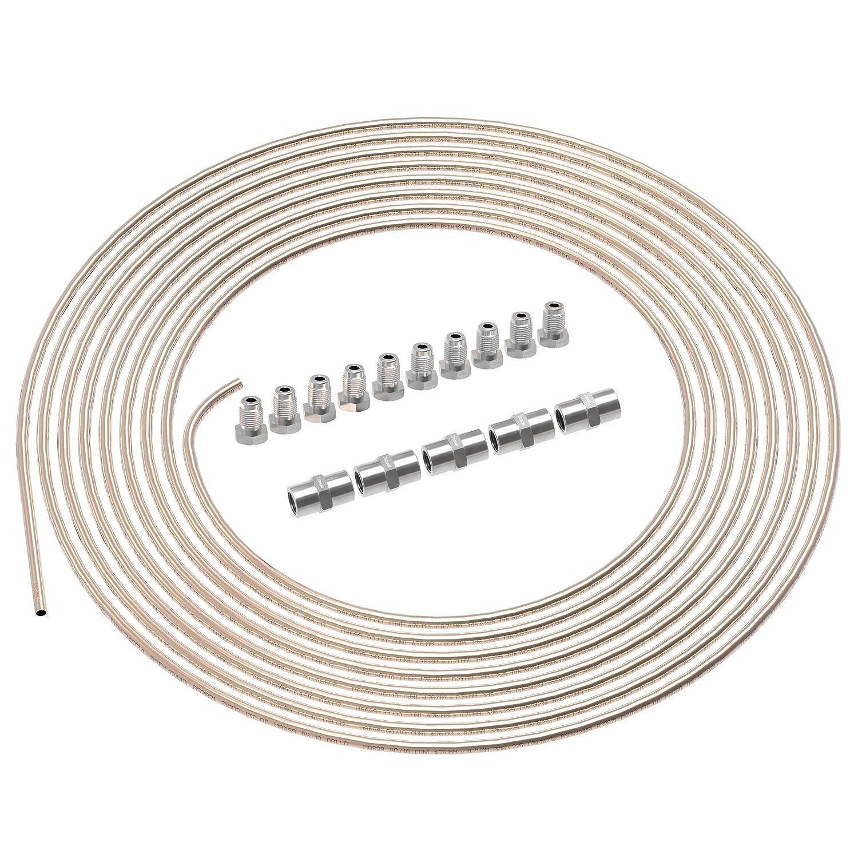 AUPROTEC 10m Bremsleitung Ø 4, 75mm Kunifer im SET + 10 Verschraubungen + 5 Verbinder M10 x 1 DIN 74 234 konform Kupfer-Nickel Bremsrohr im Sortiment für Bördel F