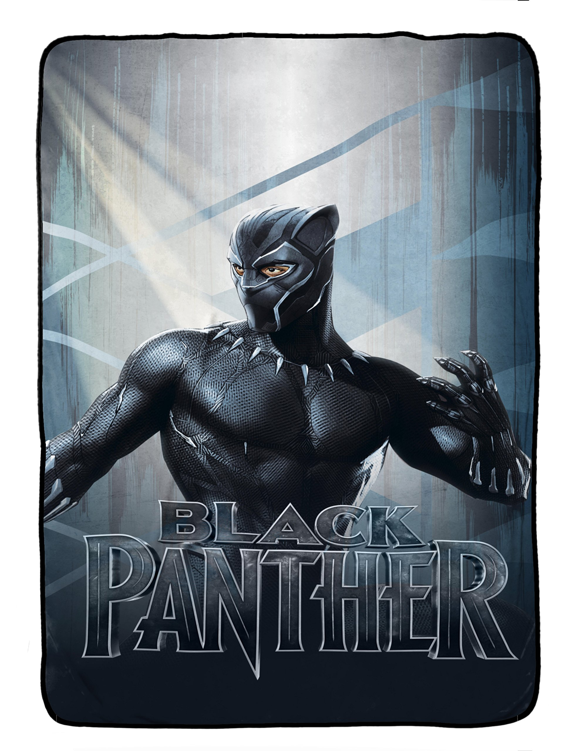 Jay Franco Marvel Black Panther Blue Tribe Blanket - Super Soft Bedding Features Black Panther - Measures 62'' x 90'' (Official Marvel Product) ...