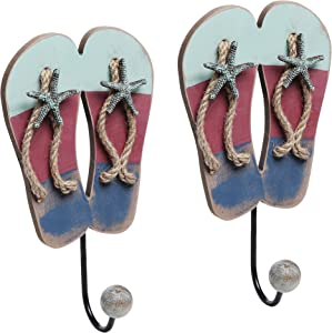 Tropical Beach Flip Flop Sandal Entryway Wall Hanging Ball Capped Coat/Towel Hooks, Set of 2