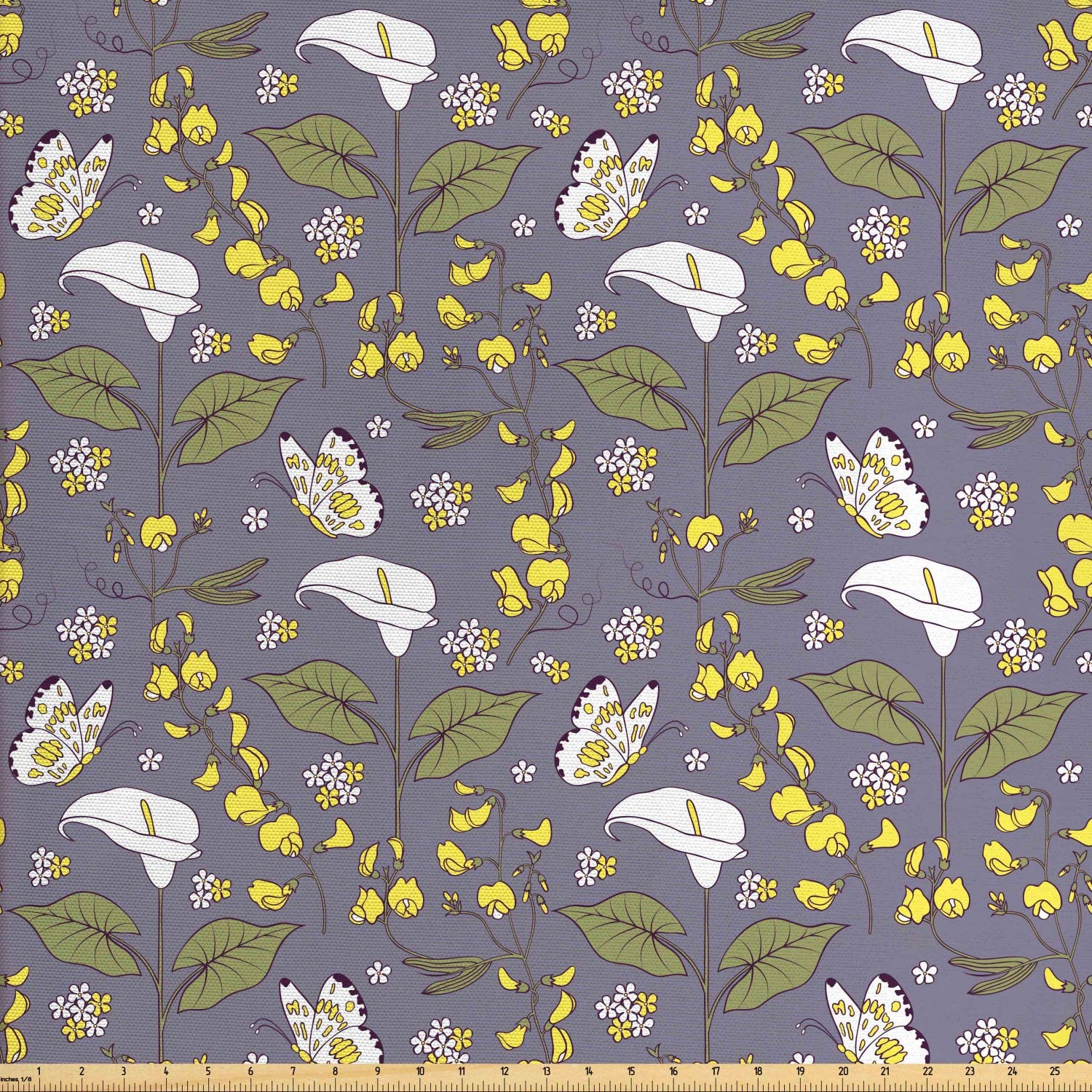 Lunarable Botanical Fabric by The Yard, Calla Lily Hybrids Flowers with Butterflies Shabby Leaves Bloom Garden Theme, Decorative Fabric for Upholstery and Home Accents, 1 Yard, Purple Green