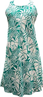 product image for Paradise Found Womens Pareau Leaves Short Tank Dress Turquoise S