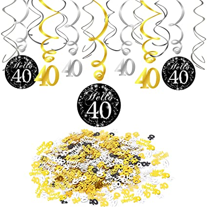 Konsait 40th Birthday Decoration Hanging Swirl 15 Counts Happy